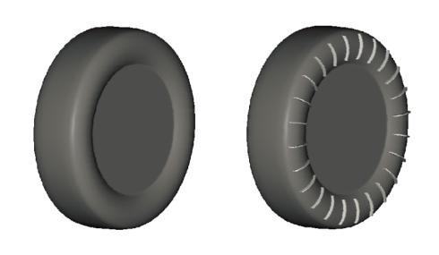 「フィンタイヤ」(右)とノーマルタイヤの比較