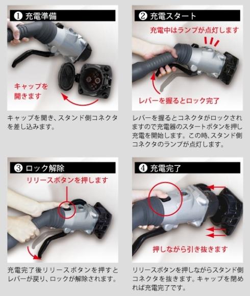従来の急速充電器用インフラコネクタの使用手順