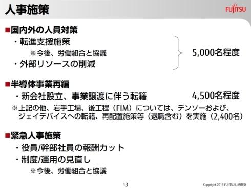 富士通の構造改革による人員削減規模
