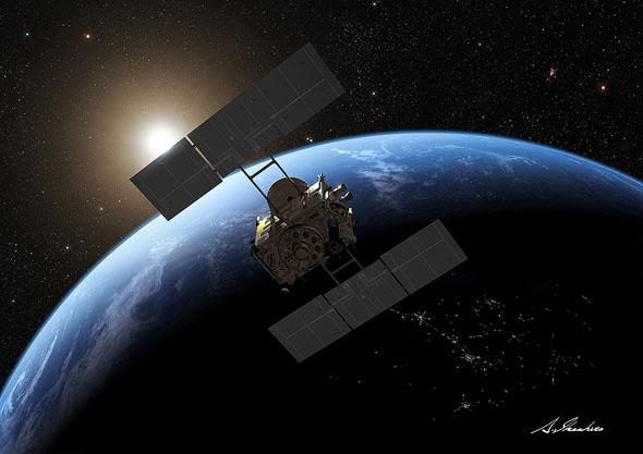 地球スイングバイをする「はやぶさ2」の想像図