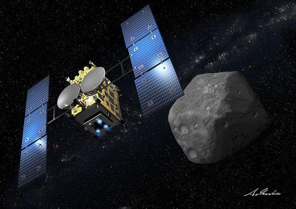 小惑星「1999JU3」へ到着した「はやぶさ2」の想像図