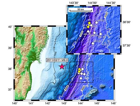 海底地震計の設置位置