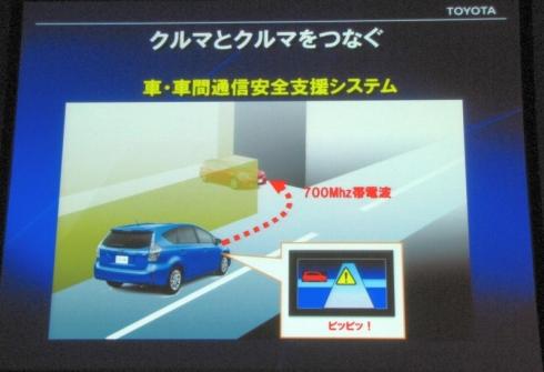 700MHz帯の車車間通信を使った安全支援システムのイメージ
