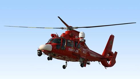 ヘリサットシステムを搭載した消防庁ヘリコプター