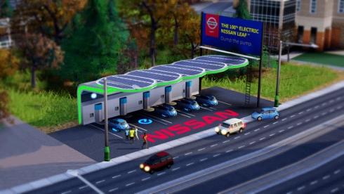 「シムシティ」の無料のダウンロードコンテンツとして提供されている「日産リーフ充電ステーション」