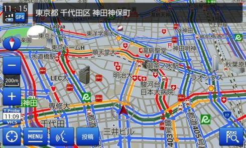 地図上に表示した「Tプローブ交通情報」