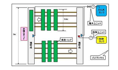 定置型イチゴ収穫ロボットと循環式移動栽培装置の配置
