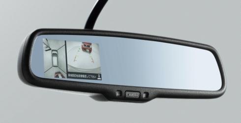 ディスプレイ付き自動防眩式ルームミラーに「アラウンドビューモニター」を表示した状態