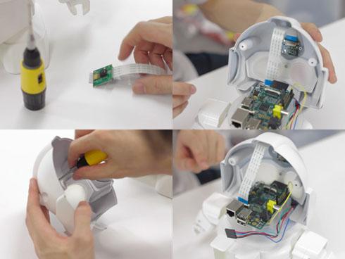 「RAPIRO(ラピロ)」の頭部は「Raspberry Pi」が組み込めるよう設計されている