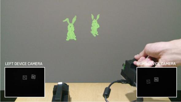 例えば、壁に投影したキャラクター同士を近づけると、何らかのアクションを起こす仕掛けが作れる