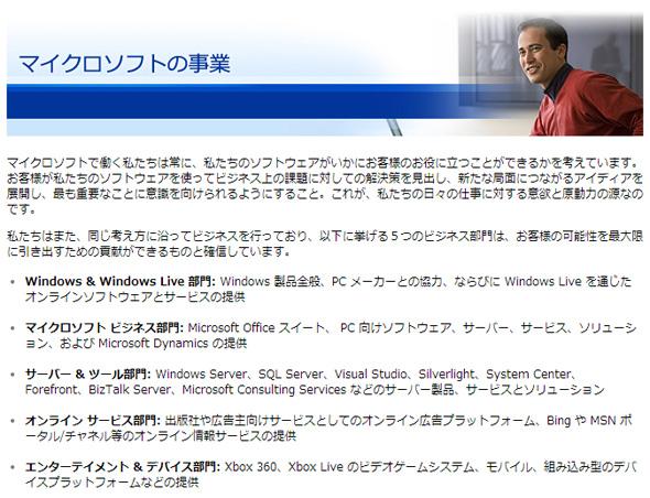 Microsoftの事業