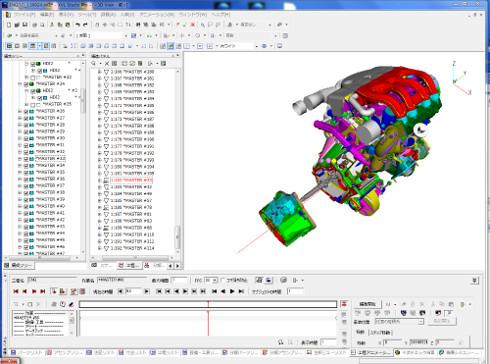 XVL Studio 12.1で組み立てアニメと視点を半自動設定した画面イメージ