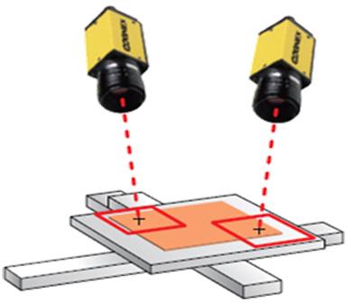 2台のカメラで1つのワークの2部位を観測