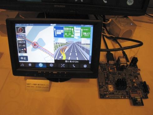 光庭のナビゲーションエンジンと「QNX CAR Platform for Infotainment」を組み合わせたカーナビの評価機