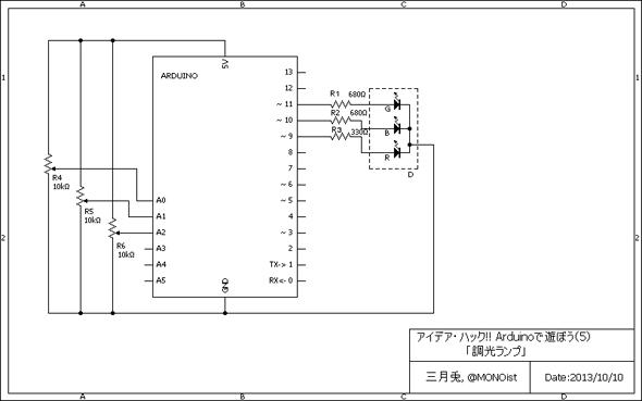 「フルカラーLED調光ランプ」の回路図