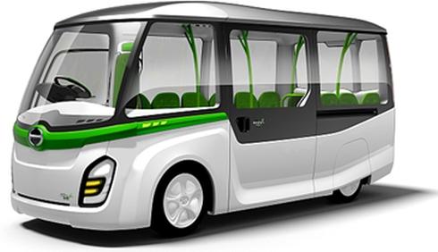日野自動車の小型コミュニティ電気バスのコンセプト「ポンチョ・ミニ」