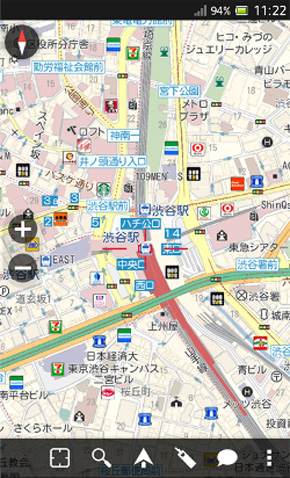 Android向けのオフライン地図ナビゲーションアプリ「MapFan for Android 2013」