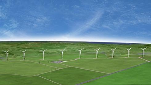 スマレ工場に電力を供給する風力発電所の完成イメージ
