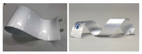 フィルム型リチウムイオン電池は曲げ形状も可能