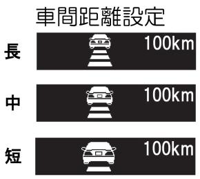 アダプティブクルーズコントロールシステムの車間距離設定画面