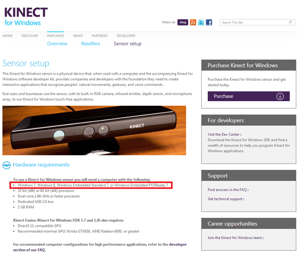 Kinect for Windowsハードウェア要件