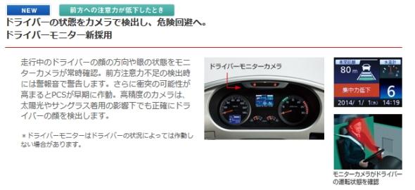 日野自動車の「セレガ」に搭載されている「ドライバーモニター」の説明図