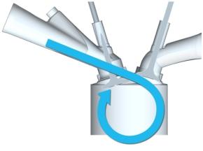 シリンダー内に強いタンブル流を生成する新形状の吸気ポート