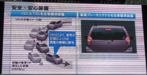 横滑り防止装置と「緊急ブレーキシグナル」を標準装備