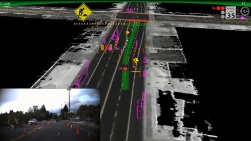 自動運転車による周囲の認識状況