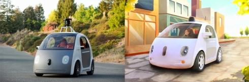 グーグルが新たに開発した自動運転車(左)と走行イメージ