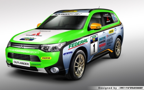 「アジアクロスカントーラリー2014」に挑戦する「アウトランダーPHEV」の競技車両