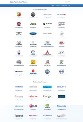 OAAのWebサイトに表示されているパートナー企業のロゴ