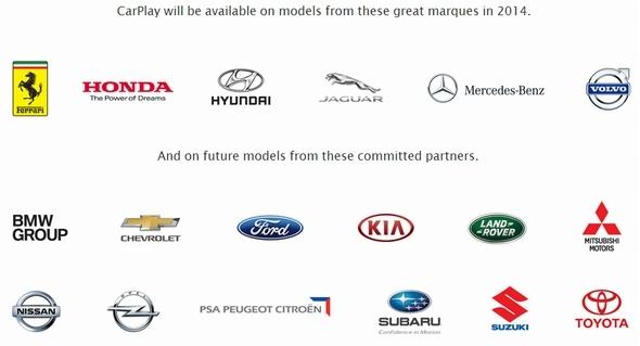 2014年3月時点における「CarPlay」対応企業・ブランドのロゴ