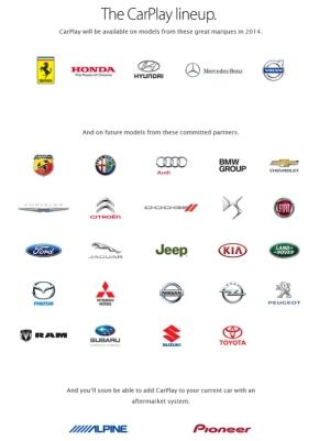 2014年7月時点における「CarPlay」対応企業・ブランドのロゴ