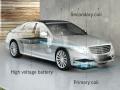 BMWの試作車の受電コイルと駐車スペース側の送電コイルの位置合わせを行っている様子