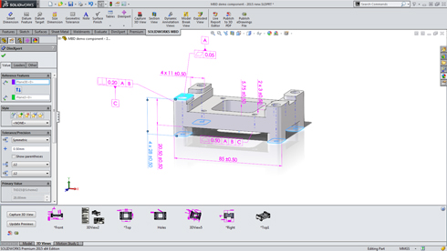SOLIDWORKS Model-Based Definition(MBD)の画面イメージ