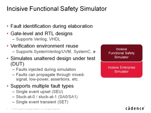 「Incisive Functional Safety Simulator」は「Incisive Enterprise Simulator」の処理エンジンで動作する