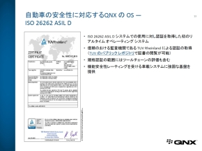 「QNX OS for Automotive Safety 1.0」のISO 26262に関する認証取得内容