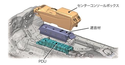 PDUをセンターコンソールに組み込むことで車室容積への影響を最小限にとどめた