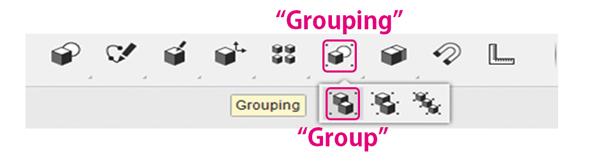 グループ化には[Grouping]メニューの[Group]コマンドを使う