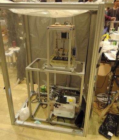 東京大学3Dプリンタ倶楽部による自作の光造形方式3Dプリンタ