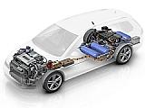 「Golf SportWagen HyMotion」の燃料電池パワートレイン、リチウムイオン電池パック、水素タンクの設置位置
