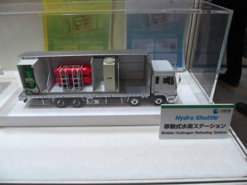 大陽日酸が展示した移動式水素ステーションのミニチュアモデル