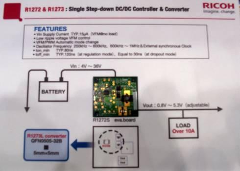 リコー電子デバイスが展示した「R1272」の評価ボード