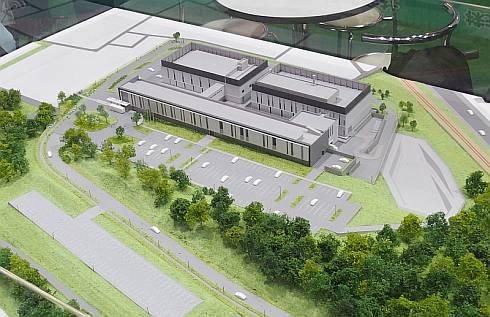「福島県医療機器開発・安全性評価センター(仮称)」の模型