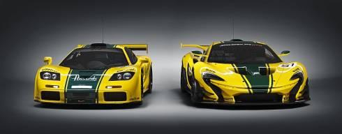 「P1 GTR」(右)とカラーリングの基になった「McLaren F1 GTR」のシャシーナンバー06R(左)