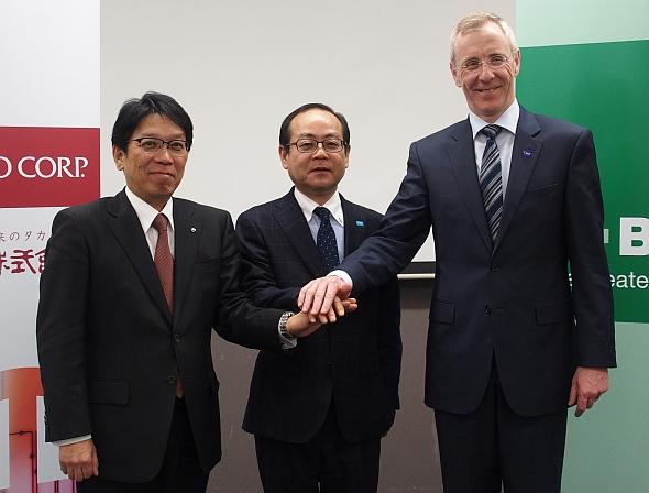 左から、戸田工業社長の寳來茂氏、BTBM最高経営責任者の阿武保郎氏、BASFジャパン社長のヨルグ-クリスチャン・テック氏