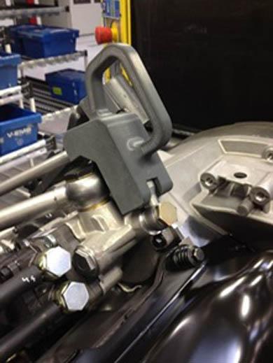 Stratasys製の3Dプリンタで製造したホースホルダ