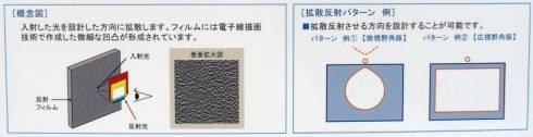 開発したフィルムの概念図(左)と拡散反射パターンの例(右)