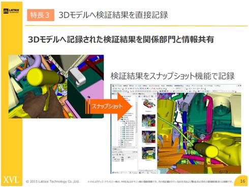 3次元モデルに検証結果を直接記録